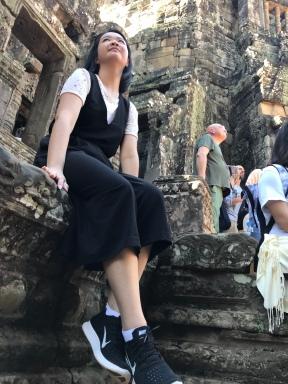 Tutor Yuet Ling in Angkor Wat, Cambodia